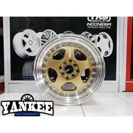 Velg Mobil HSR Wheel BURN Ring 15 Hole 4 Gold Lips