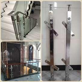 Pagar railing tangga model stainless dan kaca
