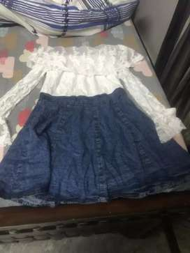 Net dress with a attached shirt