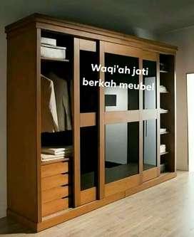 Lemari pakaian minimalis mewah & modere pintu 3, geser,bahan kayu jati