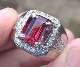 Dijual Rhodolite Garnett ring perak mewah