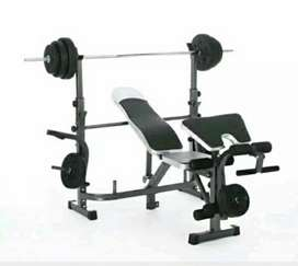 Alat gym baru dan bergaransi/bench press with stik+beban