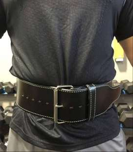 Weight Lifting Belt in Straight Shape Two Layer of Leather
