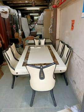 Artificial marble 6 chair dinning table