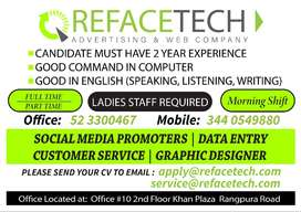 Female Staff Required (Full time & Part time)