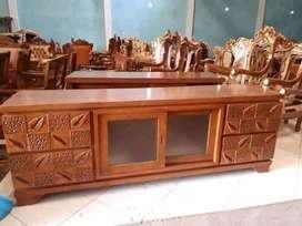 Bufet minimalis ukiran laci 4, P.180cm, bahan kayu jati terbaik
