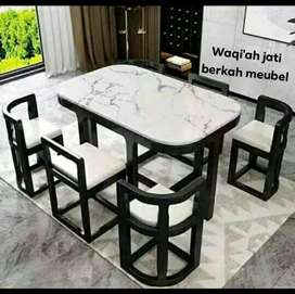 (Meja makan Waqi'ah) Meja makan marmer slim modern & mewah, k. 6,