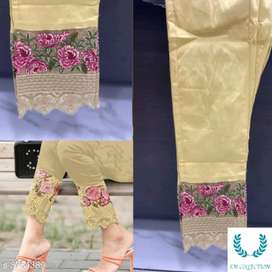 Embroidered pure stretchable cotton pants