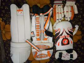 Cricket batting Pat , thigh pad , gloves, elbow guard