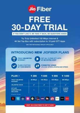 Jio fiber broadband  free trial offer