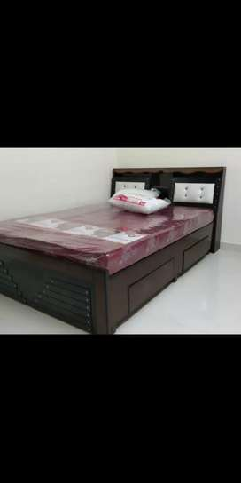 New queen size headstorage double cot 5*6 only 9999 mattress 3500
