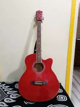 A guitar  in red