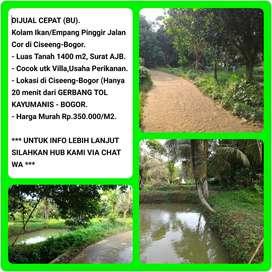 Dijual Tanah Empang Lokasi Strategis dipinggir Jalan, Luas 1414m2