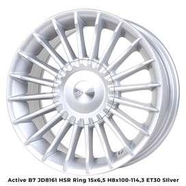 velg mobil jazz type->ACTIVE B7 JD8161 HSR R15X65 H8X100-114,3 ET30 SI