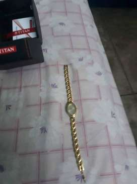 Titan raga gold plated womens wrist watch.