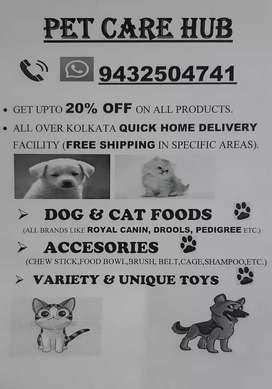 Dog foods & accessories upto 20% discount and home delivery.