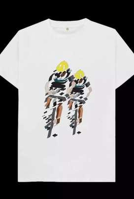 Kaos gambar lukisan bersepeda dgn teman, 1 desain hanya utk 1 pembeli