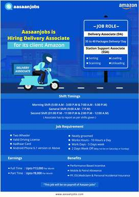 Amazon (Aasaanjob's Client)- Delivery Associate E-Commerce (Faridabad)