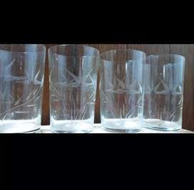 4 buah gelas jadul