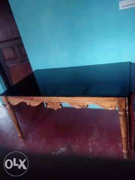 Teak wood squar big size dining table 12 mm glass