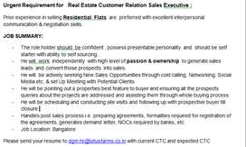 Real Estate Customer Relation Sales Executive