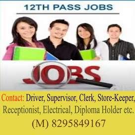 Supervisor Driver receptionist diploma holder etc