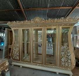 Bufet partisi biola mewah 5 pintu emas