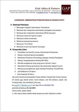 Lowongan Administrasi & Finance Staff