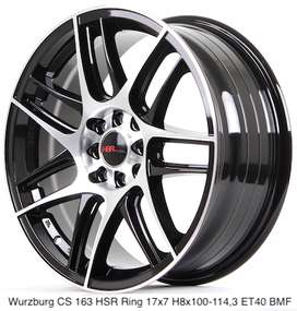 velg racing wurzburg hsr ring 17x7 hole5 warna black machine face