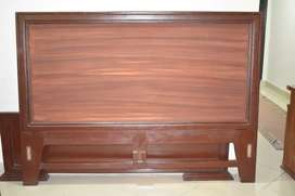 WOODEN BED WITH SIDE TABLES AND DRESSING