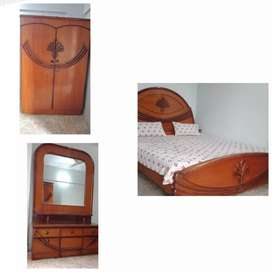 Wooden Bed with cupboard and dressing table