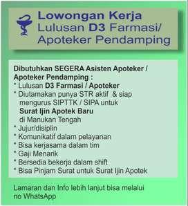Lowongan Asisten Apoteker / D3 Farmasi
