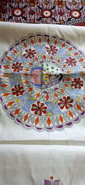 Madhubani hand painted ethnic stoles