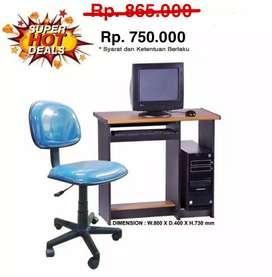 Meja Komputer + Kursi hidrolik #Set Baru   COD makassar