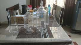 Four glass candy jars available. High quality, never used.