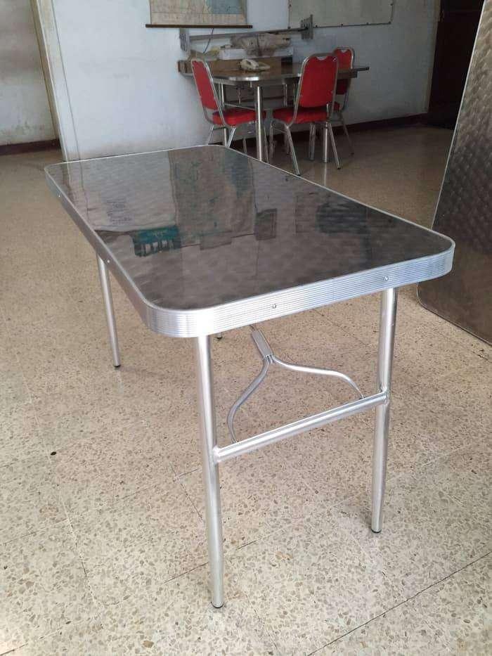 meja lipat aluminium meja stainless kaki lipat meja cafe kursi kantin 0