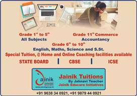 Online, @Home and Personal Tuitions for Class I to XI