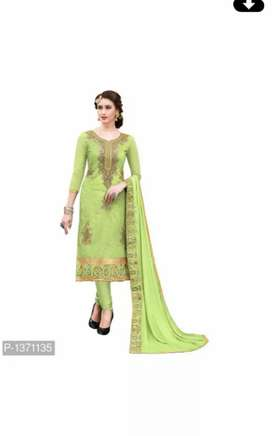 Ladeis suits stitchesd emberoidered cotton dress meterial