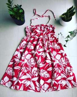 Red halter neck summer dress