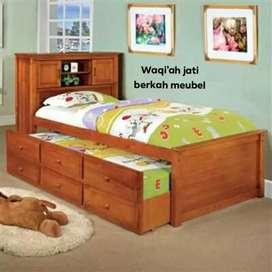 Tempat tidur anak sorong laci 3, mewah, 120x200, bahan kayu jati asli