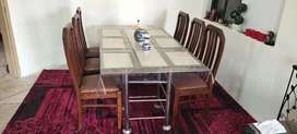 Dining table. 6 person. With new dining chairs