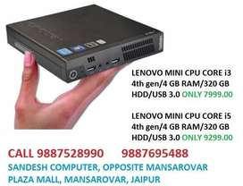 LENOVO MINI CPU CORE i3/i5 4th gen/4 GB RAM/320 GB HDD/USB 3.0