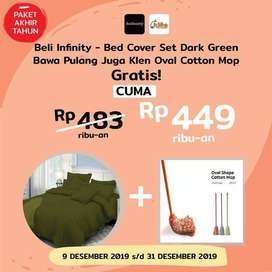 Paket Akhir Tahun - Infinity Bed Cover Set Dark Green Bonus Klen Oval