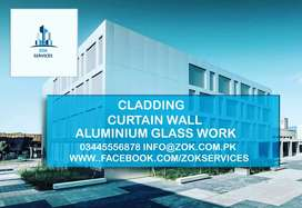 Glass Aluminum Double Glazed Curtain Wall Alucobond cladding work