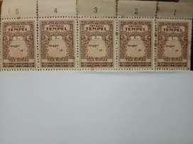 Barang Antik : Meterai 3 ( Tiga ) Rupiah Original, 5 unit All 475rb