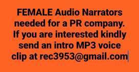 Our PR Firm Required Female Voice Narrators Full time/Part Time