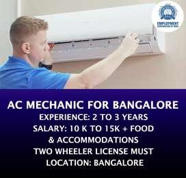 AC MECHANIC FOR BANGALORE