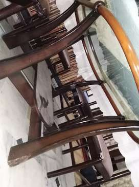 Dinning table (top glass 12mm) with 6 chairs.