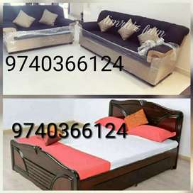 Double cots and sofa sets at Cash on delivery