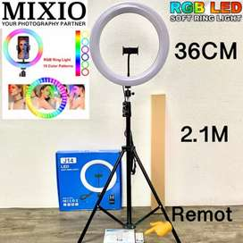 Mixio Ring Light RGB Rainbow 36CM Tripod + 2.1M RingLight TikTok